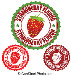 Strawberry flavor set of rubber stamps, vector illustration