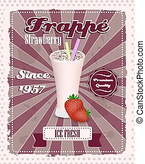 Strawberry frappe poster with drinking strew, fruit and...
