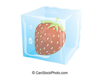 Strawberry freezed in the ice cube isolated on the white background