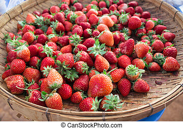 Strawberry fresh from the farm in a wooden tray.