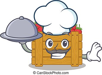 Strawberry fruit box as a chef cartoon character with food on tray