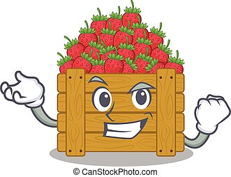 strawberry fruit box cartoon character style with happy face