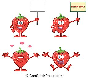 Strawberry Fruit Cartoon Character Series Set 5. Collection