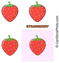 Strawberry Fruit Cartoon Drawing. Collection Set.