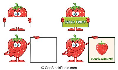 Strawberry Fruit Cartoon Mascot Character Series Set 3. Collection
