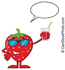 Strawberry Fruit Cartoon Mascot Character With Sunglasses Holding Up A Glass Of Juice