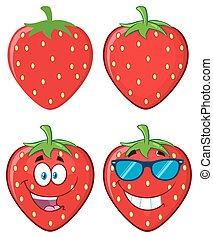 Strawberry Fruit Cartoon Mascot Character Set. Collection