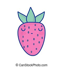 strawberry fruit character cartoon food cute flat style icon