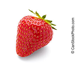 strawberry fruit food - close up of strawberry on white...