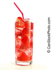 strawberry fruit juice or cocktail drink isolated on white...