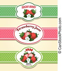 Strawberry fruit label set. Strawberries marmelade or jam...