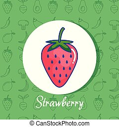 strawberry fruit poster with healthy food pattern