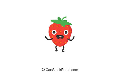 Strawberry funny character dances and smiles. Loop...