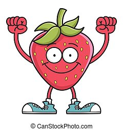 Strawberry happy smiling cartoon character