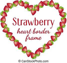 Strawberry heart border frame.