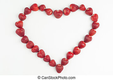 strawberry heart on a white background