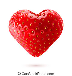 Strawberry heart - Shiny strawberry heart isolated on white...
