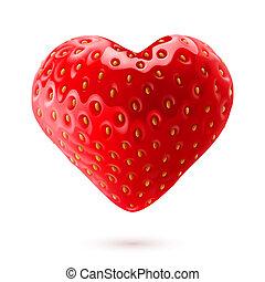 Strawberry heart - Shiny strawberry heart isolated on white...