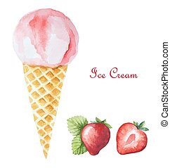Strawberry ice cream in a waffle cone and orange wedges. ...