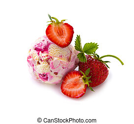 Strawberry ice cream with fruit on white background