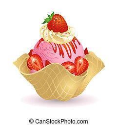 Strawberry Ice cream with waffle basket