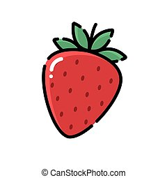 Strawberry icon, logo vector, flat design