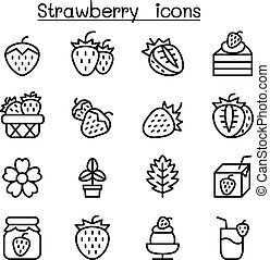 Strawberry icon set in thin line style