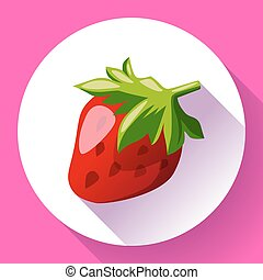 Strawberry icon with long shadow