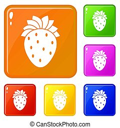 Strawberry icons set color