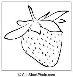 strawberry., illustration, conception, grands traits, icône, ui., simple, logo, toile, vecteur, style, app, dessin animé