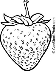 strawberry illustration for coloring book - Black and White...