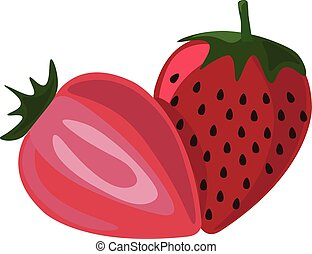 Strawberry, illustration, vector on white background.
