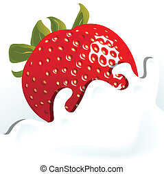 strawberry - Illustration, berry of the strawberry falls in...