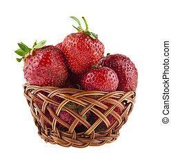 strawberry in a basket isolated on a white background close-up
