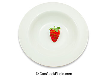 Strawberry in a plate on white background