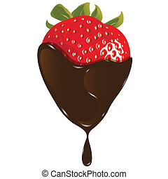 illustration, red strawberry in fluid brown chocolate