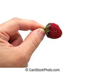 Strawberry in hand on white background