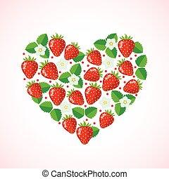 Strawberry in heart shape.