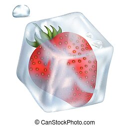 Frozen tasty red strawberry in glossy ice cube that melts and small drops isolated vector illustration on white background.