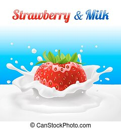 Strawberry in milk - Strawberries dipped in milk with...