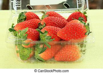 Strawberry in plastic box