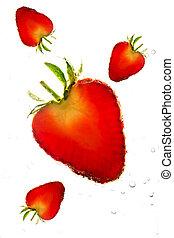 strawberry in soda water