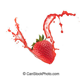 Strawberry in splash, isolated on white background