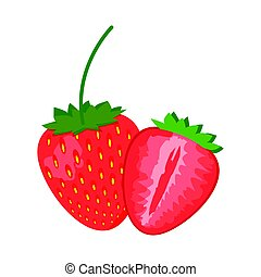 Strawberry isolated on White background, vector illustration.