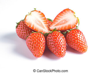 Strawberry isolated on white background with shadow