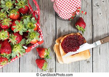 Strawberry jam - Fresh strawberry jam with toast for...