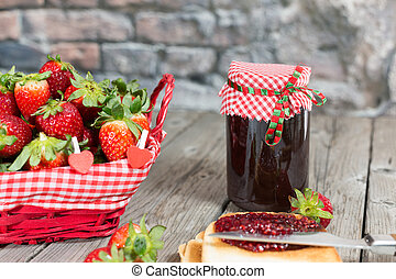 Strawberry jam - Fresh strawberry jam with toast for...