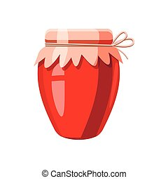 Strawberry jam glass jar icon, cartoon style