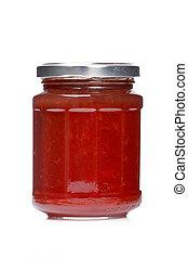 Strawberry jam glass jar reflected on white background
