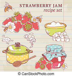 Strawberry jam ingredients - Sweet and healthy homemade...